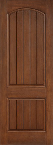 8ft 2 Panel Plank Soft Arch Classic-Craft Rustic Collection Single Door, Granite Full Lite