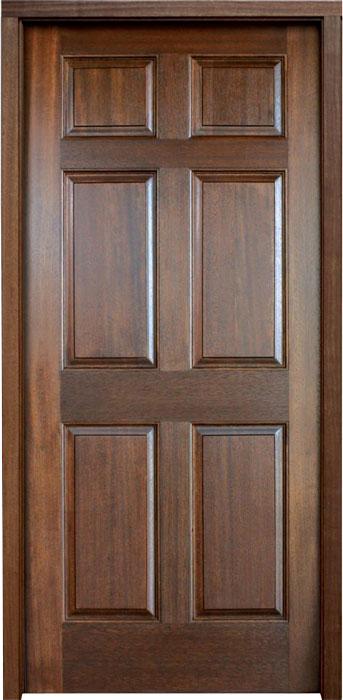 Mahogany Colonial Six Panel Single Door, Builder
