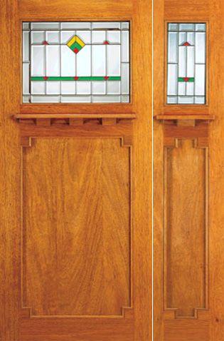 Exterior Doors and Sidelite, Frank Lloyd Wright Glass Design