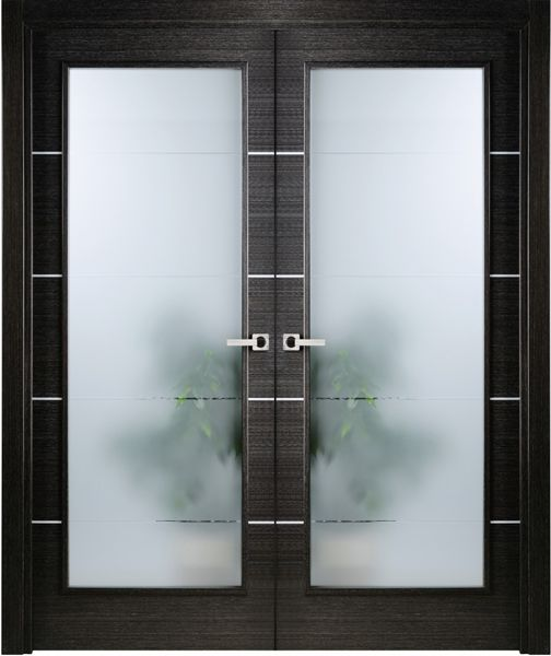 best website 6e760 bb91d Modern Interior Double Door Italian Black Apricot with Frosted Glass