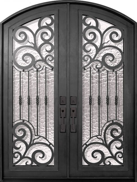 96 Barcelona Full Lite Arch Top Double Wrought Iron Entry Door