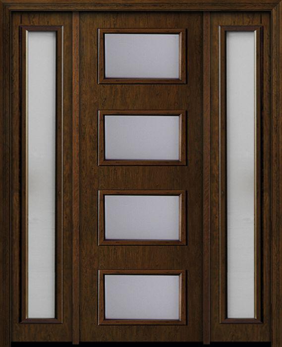 Mid Century Exterior Door 1 3 4 By Escon Door In Door With Two Sidelites Made Of Fiberglass And The Grain Is Cherry Fc833dae Fc816dae 1 2