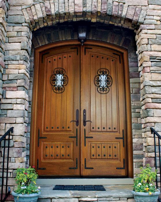 Mahogany Tiffany Solid Panel Double Door/Arch Top w Speakeasy