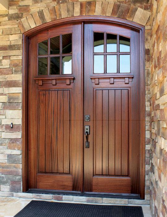 Craftsman Mahogany Linville 6 Lite Double Door/Arch Top